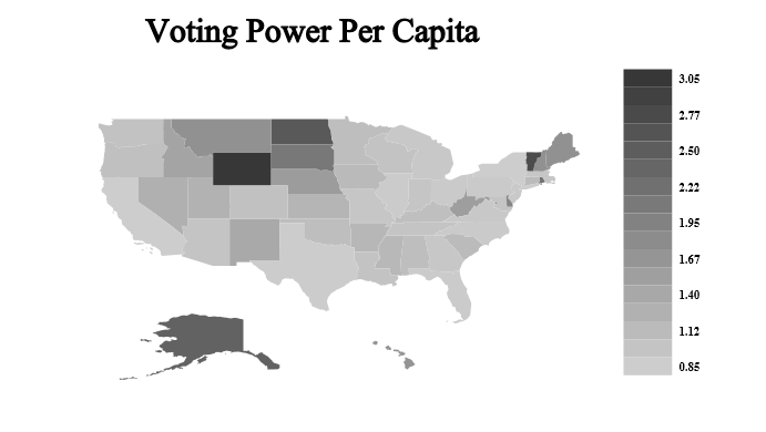 Map Showing Per Capita Voting Power Per State